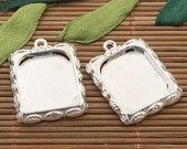15pcs silver tone leaf design picture frame charm h3394