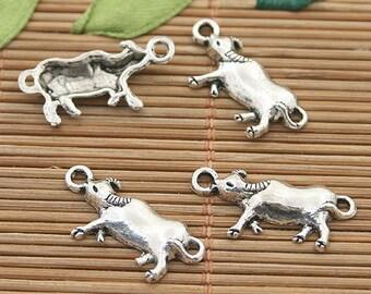 60pcs dark silver tone cattle charms h3134
