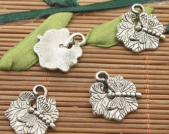 40pcs dark silver lotus leaf and dragonfly charms h3237