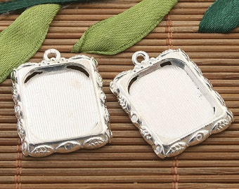 15pcs silver tone leaf design picture frame charm h3394