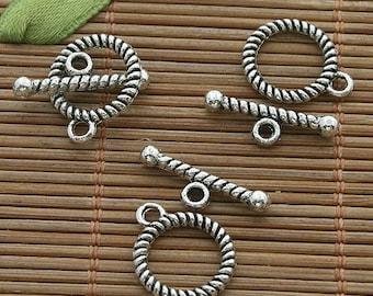 40sets dark silver tone toggle clasp h3532
