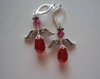 Angel Earrings, Red Tear Drop Earrings, Red Swarovski Earrings
