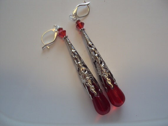 Red and Silver Dangle, Red Dangle Earrings, Silver Filagree Cone Earrings