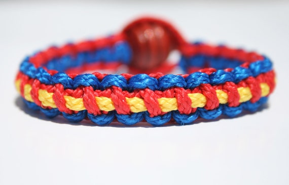 SUPERMAN BRACELET SUPERHERO Jewelry Comic Blue Red Yellow All Sizes Offered