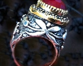Turkish Ring,Turkey Jewelry,ruby ring, Russian Czar Jewelry, Silver Gold Ring Taneesi on Etsy