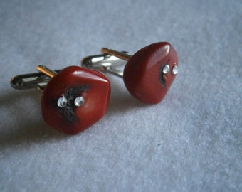 Coral Bead and Crystal Cufflinks