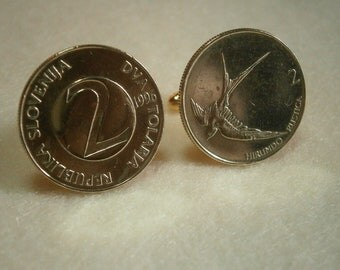 Slovania 2 Tolarja Gold-tone Coin Cufflinks