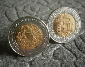 Mexican 5 Nuevo Peso Bi-Metal Cufflinks