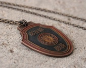 Vintage Chinese Medal Necklace Rustic Boho
