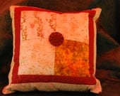 Four patch square pillow with vintage button
