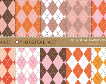 Digital Paper 'Diamonds' Brown, Pink, Red, Orange... Argyle Style Pattern Printable Digital Download for Cards, Invitations...