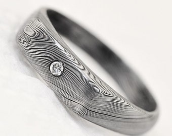 engagement ring or wedding ring with diamond womens ring hand made stainless damascus steel - Damascus Wedding Ring