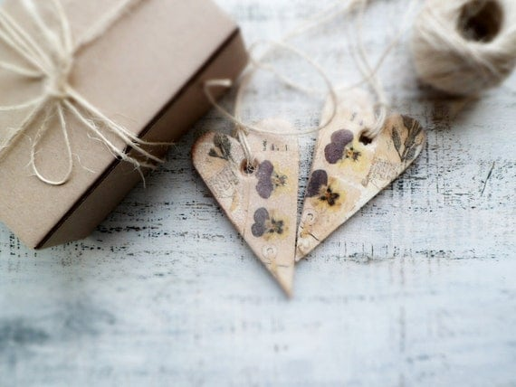 Set of 2 rustic shabby chic hearts home decor gift for couple, rustic brown ivory purple yellow daisies Valentines day decor, Valentine gift