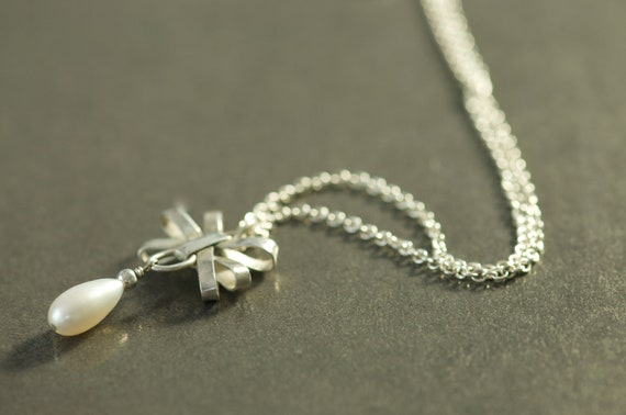 Silver Bow Necklace With Freshwater pearl drop