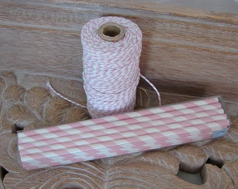 Straws -  25 Pink And White Striped Paper Straws and Full Roll of Bakers Twine