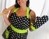 Rockabilly Sweetheart Polka Dot Apron Retro Style with Lime Green Accent