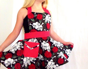Skulls and Roses Girls Apron with Red Pin Dot ties