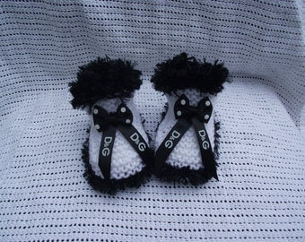 baby boots/ booties with designer ribbon