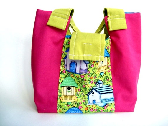 Childrens tote bag, Girls small Pink bag.