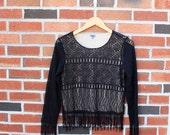 Vintage Black Crochet Fringe Top