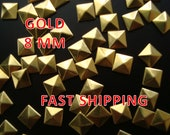 40 Pcs - 8MM DIY Pyramid Flat Back Studs - Save 15% Use  Coupon Code: 28994 - Iron On Studs - GOLD - Great for All Projects - Fast Ship