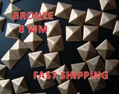 Reserved Listing for Samantha 384 Pcs -  8MM DIY Pyramid Flat Back Studs - Iron On Studs - BRONZE
