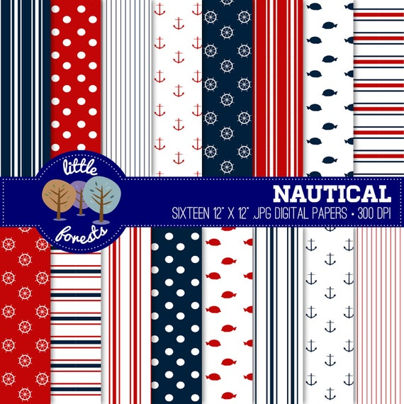 Nautical Digital Scrapbook Paper Pack - 12 x 12 - navy blue, red, white - BUY 2 GET 1 FREE
