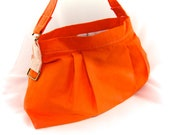 Dinosaur orange purse - cotton linen pleated purse