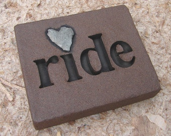 """Love Rocks """"ride"""" Plaque with Natural Found Heart Shaped Rock - Word Stone Wall Art Sign for Horse Motorcycle Rider or Biker Live to Ride"""