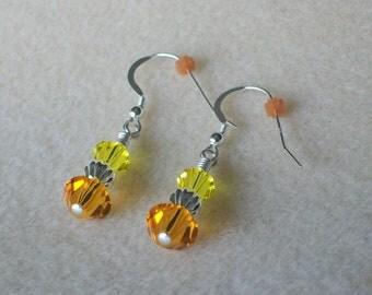 November Birthstone Earrings with Both Citrine and Topaz Swarovski Crystal and Sterling Silver