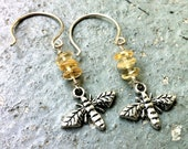 Citrine and Silver Bee Drop Earrings
