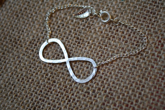 Hammered Infinity Bracelet, Silver, on a Chain