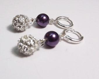 Wedding Jewelry, Bridal or Bridesmaid Purple Pearls and Crystal Pave Earrings.Purple  Bridesmaid Jewelry.