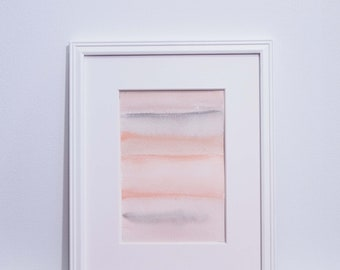 Small Abstract Painting - Peach, orange, grey, abstract landscape with watercolor, original painting 4x6