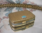 Gold Makeup Compact with Teal and clear stone embellishment