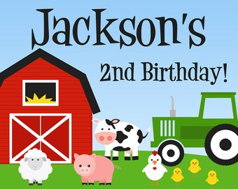 Farm Party Sign - Barn Animals, Pig, Chicken, Sheep, Cow and Tractor Personalized Birthday Party Welcome Sign - a Digital Printable File