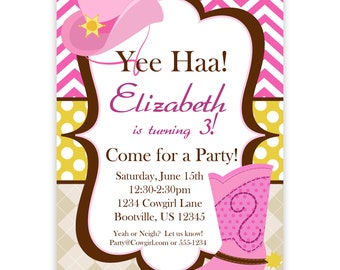 Cowgirl Invitation - Pink Chevron, Argyle, Polka Dot Cowgirl Hat and Boot Personalized Birthday Party Invite - a Digital Printable File