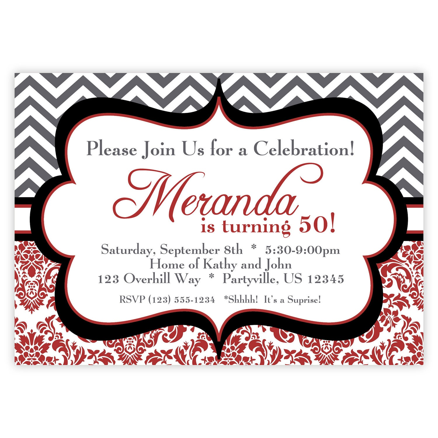 Chevron Invitation Black White and Dark Red Chevron Zig Zag