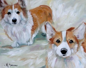 PRINT Pembroke Welsh Corgi Dog Art Oil Painting / Mary Sparrow Smith