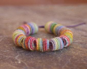 Small Handmade Fabric Textile Beads - Beads - Fiber Beads - Bohemian - Hippie Boho Style - Yarn Beads