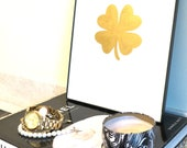 Art Print 24K Gold Four Leaf Clover Print Original Fine Art Painting and Lucky Charm
