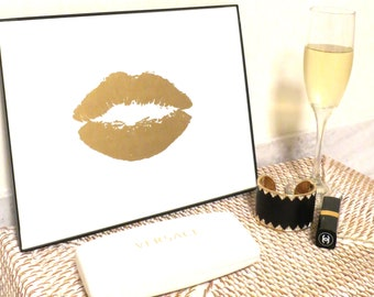 """Art Framed Gold or Silver Print """"24K Lips Kiss"""" Stylish Gold and White Painting by Jennifer Latimer"""