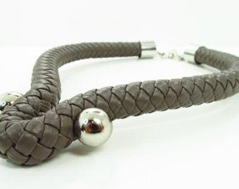 Leather and steel statement necklace