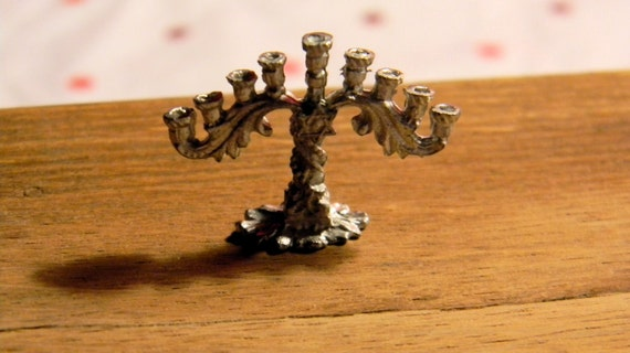 Miniature  Menorah  - Silver Ornate Menorah - Jewish Hanukkah Candle Stand - Dollhouse Half Scale