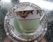 Tea cup Trio bone china  Gold and Sage green teacup & soucer white ,green and gold vintage