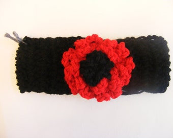 NB through 5T Black and Red Flowered Headband Earwarmer fir Babies and Toddlers