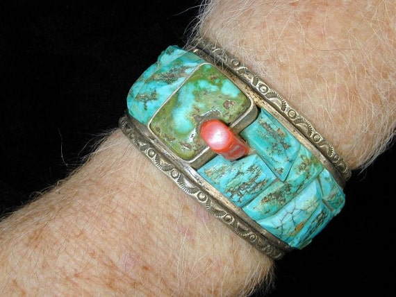 Cripple Creek Turquoise and Sterling Native American Kirkbride Designer Bracelet