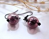 Glass earrings with herbs inside - purple hand blown globe glass herbal earrings