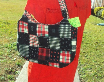 Red and Black Patchwork purse.