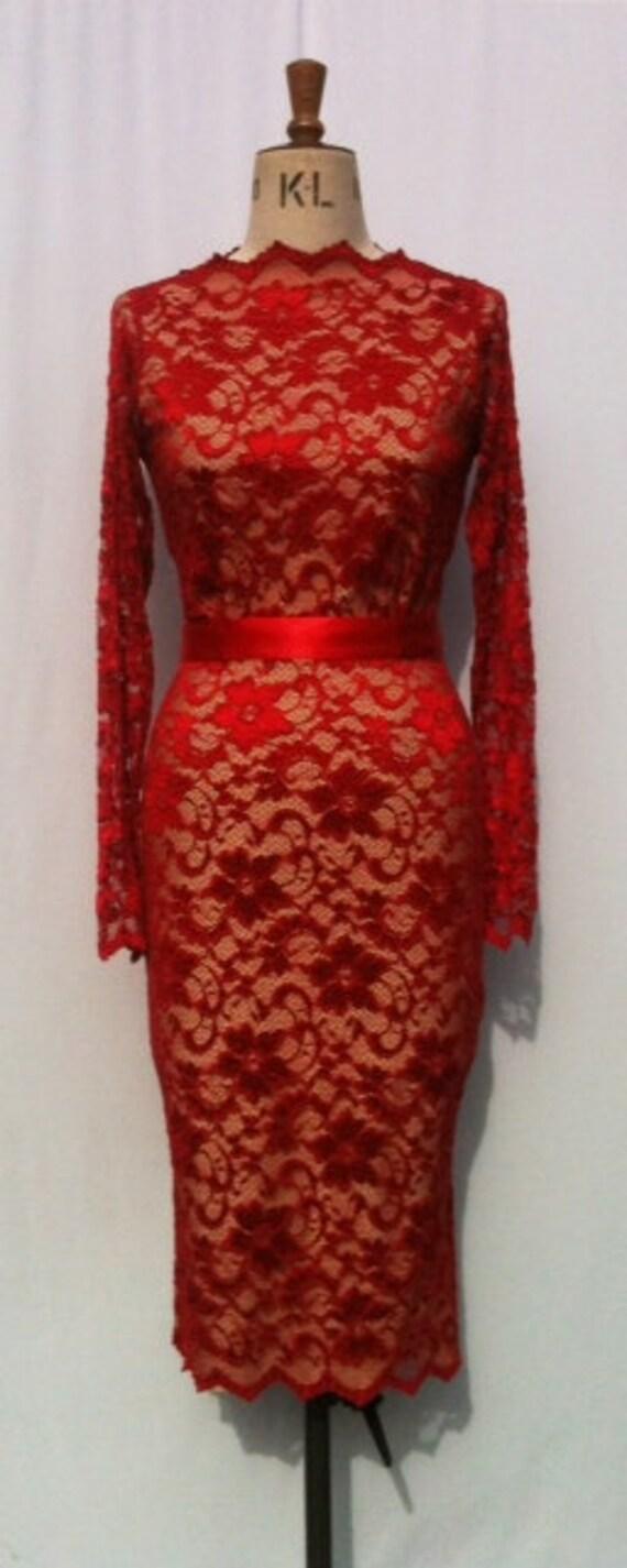 Baylis & Knight Red Nude Lace Long Sleeve Slash Boat Neck Princess Kate Middleton Wiggle Knee Dress Dita Burlesque